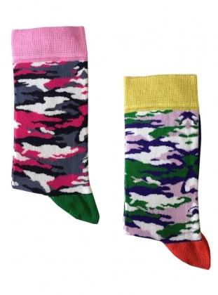 2`li Paket Kamuflaj Desenli Kadın Çorap - Pembe Yeşil