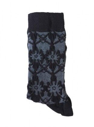 Kabartma Desenli Kadın Çorap - Siyah