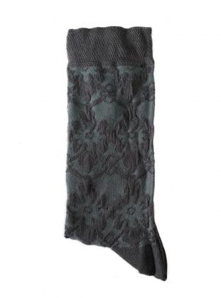 Kabartma Desenli Kadın Çorap - Antrasit