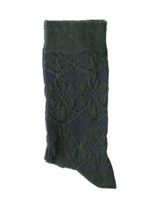 Kabartma Desenli Kadın Çorap - Yeşil
