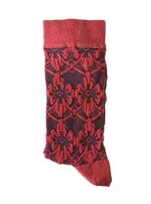 Kabartma Desenli Kadın Çorap - Kırmızı