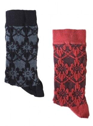 2`li Paket Kabartma Desenli Kadın Çorap - Siyah Kırmızı