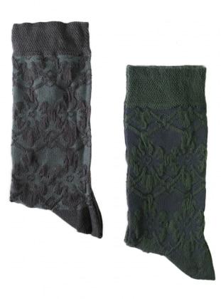 2`li Paket Kabartma Desenli Kadın Çorap - Antrasit Yeşil