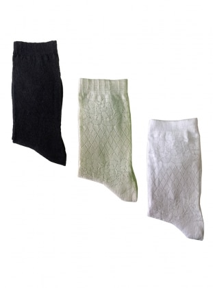 3`lü Paket Üçgen Desenli İnce Kadın Çorap - Siyah Gri Beyaz