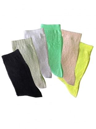 6`lı Paket Üçgen Desenli İnce Kadın Çorap