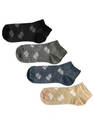 4`lü Paket Desenli Kısa Kadın Çorap