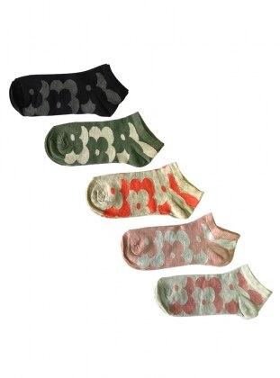 5`li Paket Çiçek Desenli Kısa Kadın Çorap