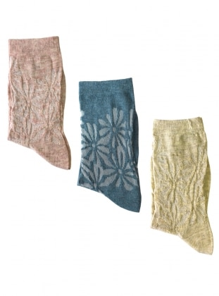 3`lü Paket Çiçek Desenli İnce Kadın Çorap - Pembe Mavi Sarı