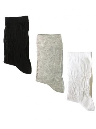 3`lü Paket Çiçek Desenli İnce Kadın Çorap - Siyah Gri Beyaz