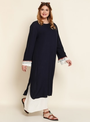 Boncuk Süslemeli Elbise - Lacivert