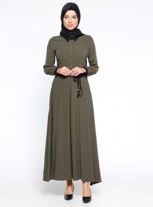 Düğme Detaylı Elbise - Haki