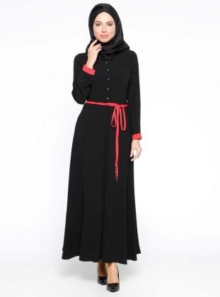 Düğme Detaylı Elbise - Siyah
