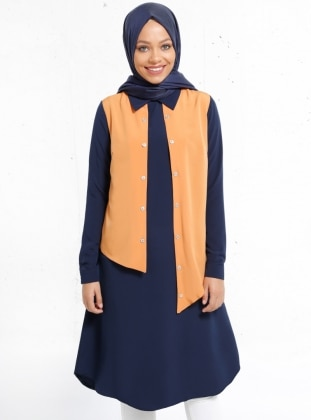 Navy Blue - Point Collar - Tunic - Refka