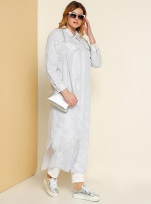 Gömlek Elbise - Beyaz