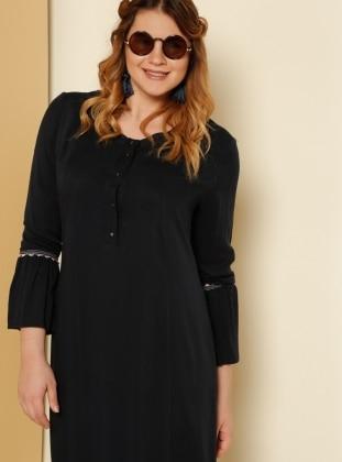 Güpür Detaylı Elbise - Lacivert