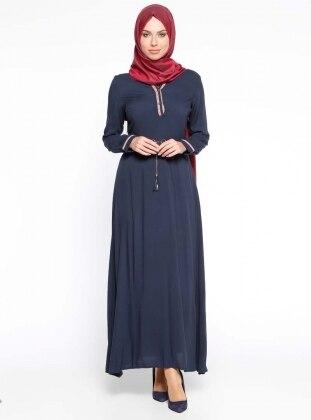 Navy Blue - V neck Collar - Fully Lined - Dress - Mileny 280083