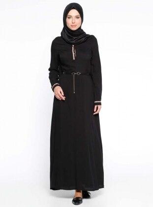 Mileny Kemerli Elbise - Siyah