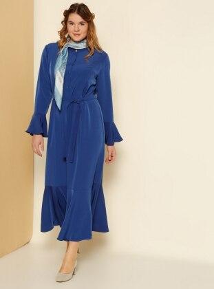 Kolları ve Etek Ucu Volanlı Elbise - Saks Alia