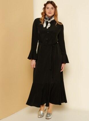 Kolları ve Etek Ucu Volanlı Elbise - Siyah