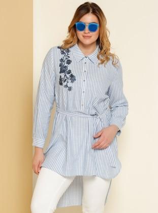 Nakış İşlemeli Tunik - Mavi Alia