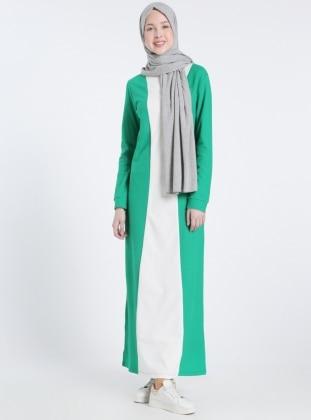 Naturel Kumaşlı Garnili Elbise - Koyu Yeşil