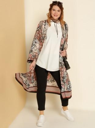 Şal Desenli Kimono - Turuncu Siyah