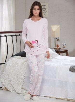 Baskılı Hamile Pijama Takımı - Pembe