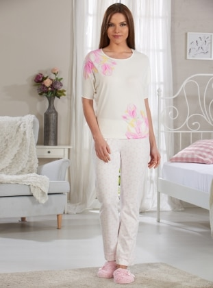 Baskılı Pijama Takımı - Ekru