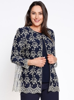 Crew neck - Multi - Navy Blue - Unlined - Plus Size Suit