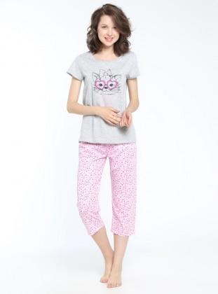 Kapri Pijama Takımı - Gri Melanj Pembe