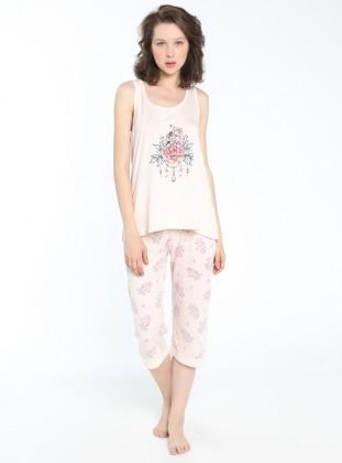 Sevim Kapri Pijama Takımı - Pudra