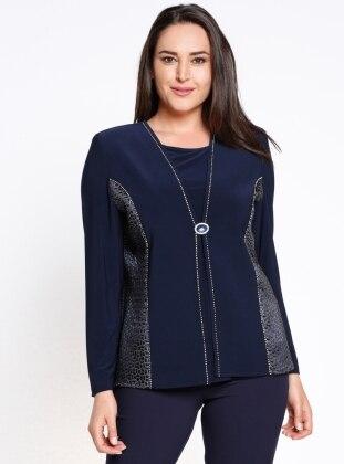 Kolsuz Bluz&Ceket İkili Takım - Lacivert Arıkan