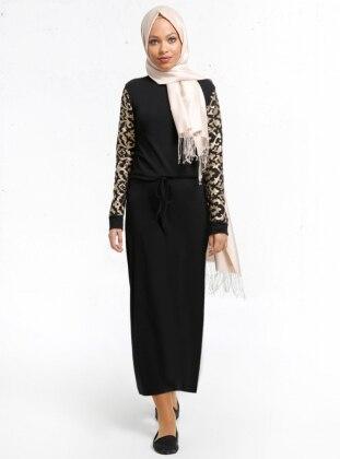 Lazer Kesimli Elbise - Siyah