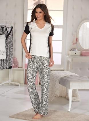 Pijama Takımı - Ekru Siyah