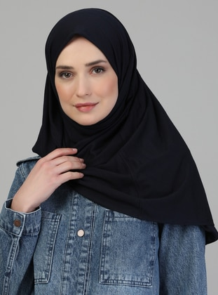 Pinless - Plain - Navy Blue - Viscose - Combed Cotton - Shawl