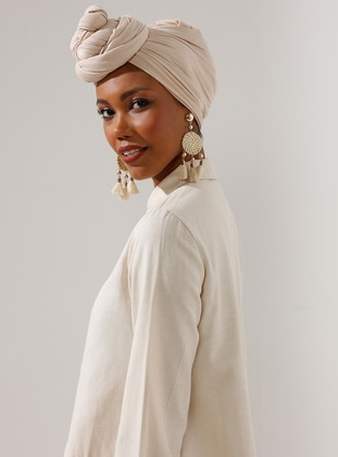 Pinless - Plain - Beige - Viscose - Combed Cotton - Shawl