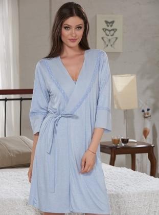 Sevim Sabahlık&Tunik İkili Takım - Açık Mavi