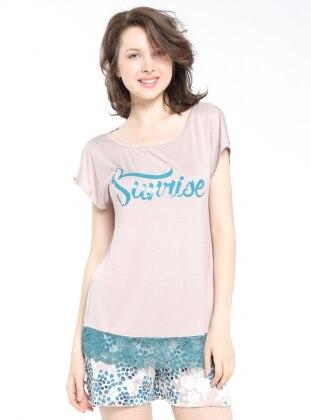 Şortlu Pijama Takımı - Vizon