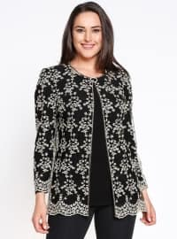 Crew neck - Multi - Black - Unlined - Plus Size Suit