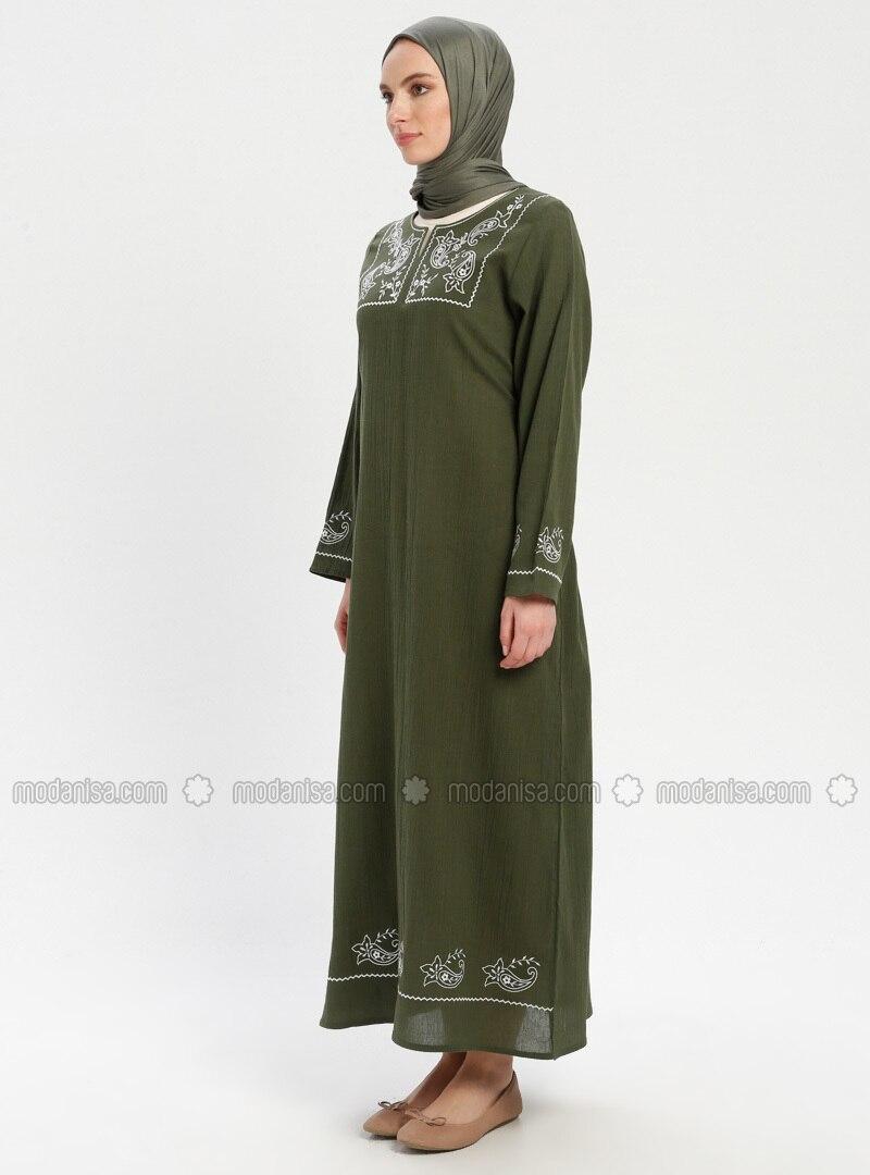 60df20e379cbe Şile Bezi Nakışlı Elbise - Haki