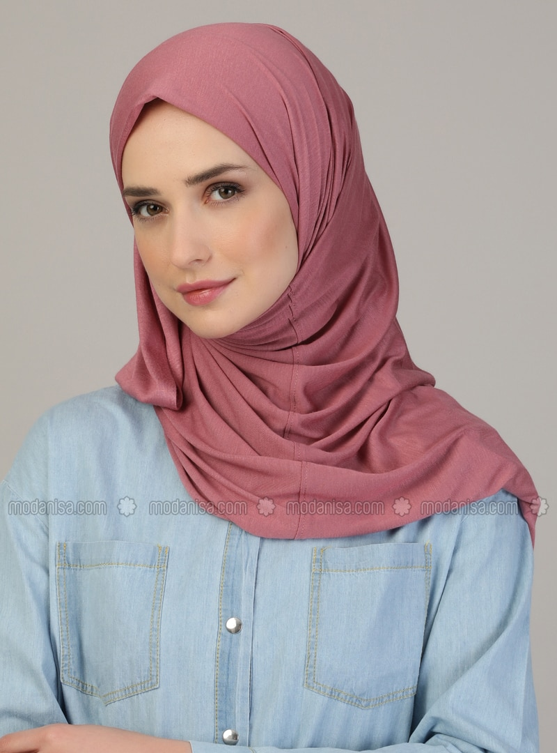 Pink - Plain - Pinless - Viscose - Combed Cotton - Shawl