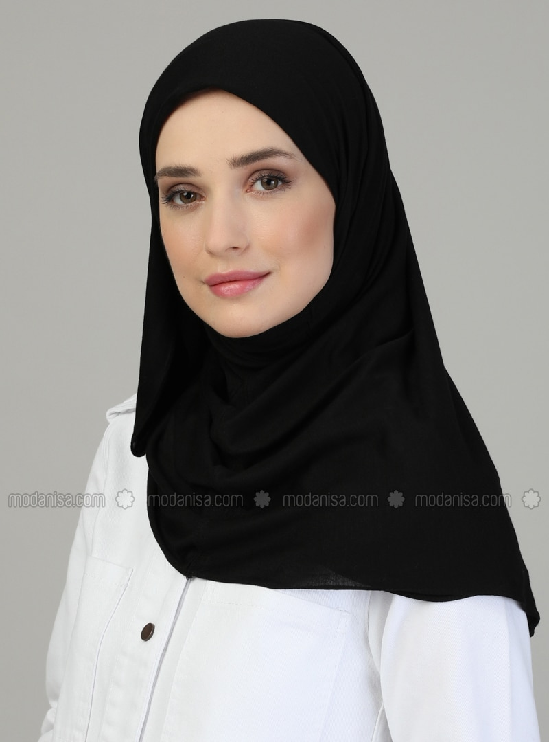 Pinless - Plain - Black - Viscose - Combed Cotton - Shawl
