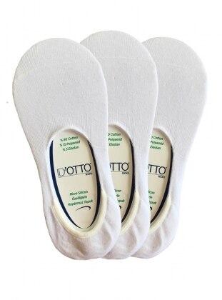 3`lü Paket Babet Çorap - Beyaz
