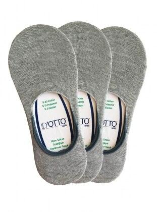 3`lü Paket Babet Çorap - Gri