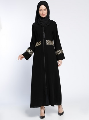 Fermuarlı Abaya - Siyah