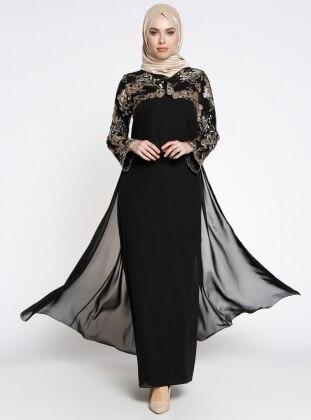 Payet Detaylı İkili Abiye Elbise - Siyah