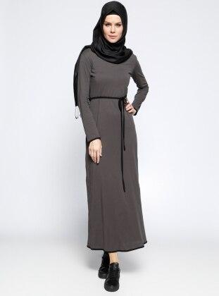 Meryem Acar Biye Detaylı Elbise - Haki