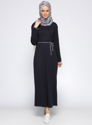 Biye Detaylı Elbise - Lacivert