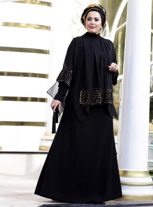 Brode Detaylı Abiye Elbise - Siyah