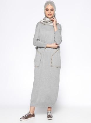 Zentoni Cepli Mevsimlik Elbise - Gri